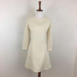 Vintage 70's 3/4 Sleeve Crew Neck Mini Shift Dress